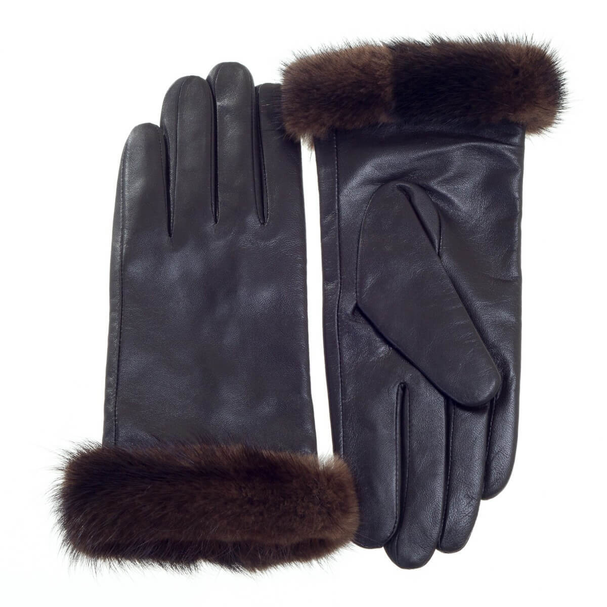 Leather Glove with Mink Fur Cuff