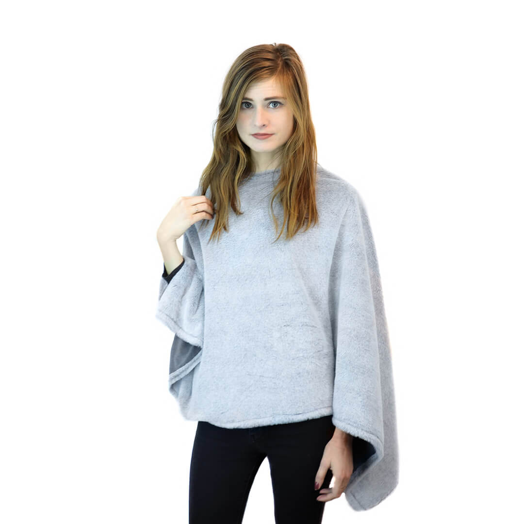 Faux Fur Poncho in Grey