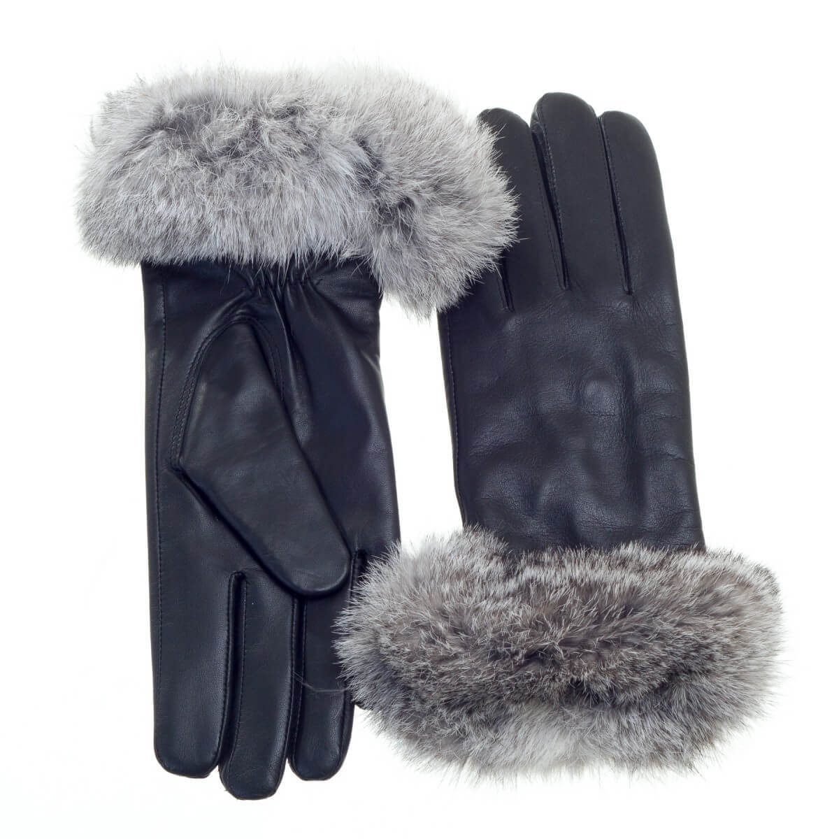 Leather Glove with Rabbit Fur Cuff