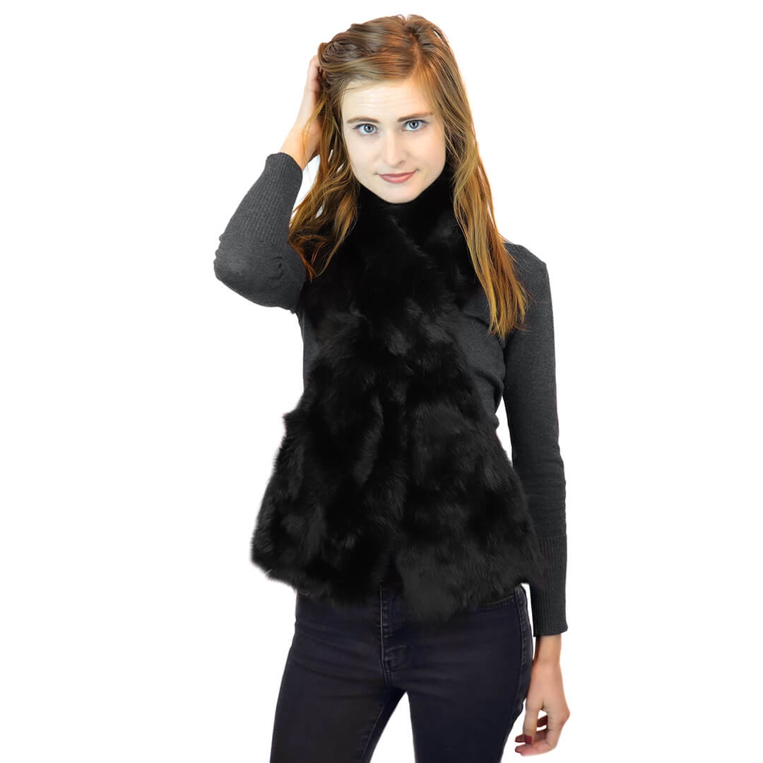 Long Hair Rabbit Fur Oversized Pull-Through in Black